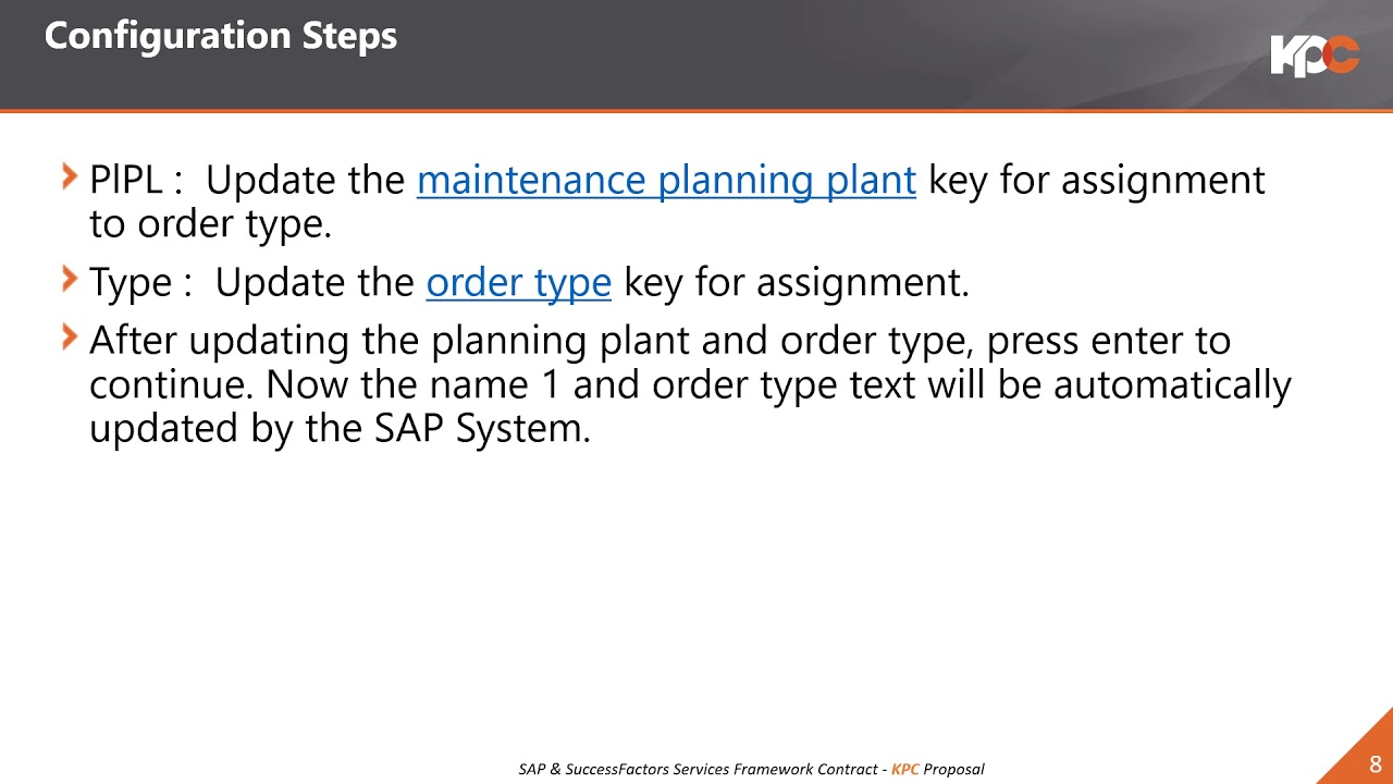 GU SAP S4H Assign Order Types to Planning Plant in SAP PM