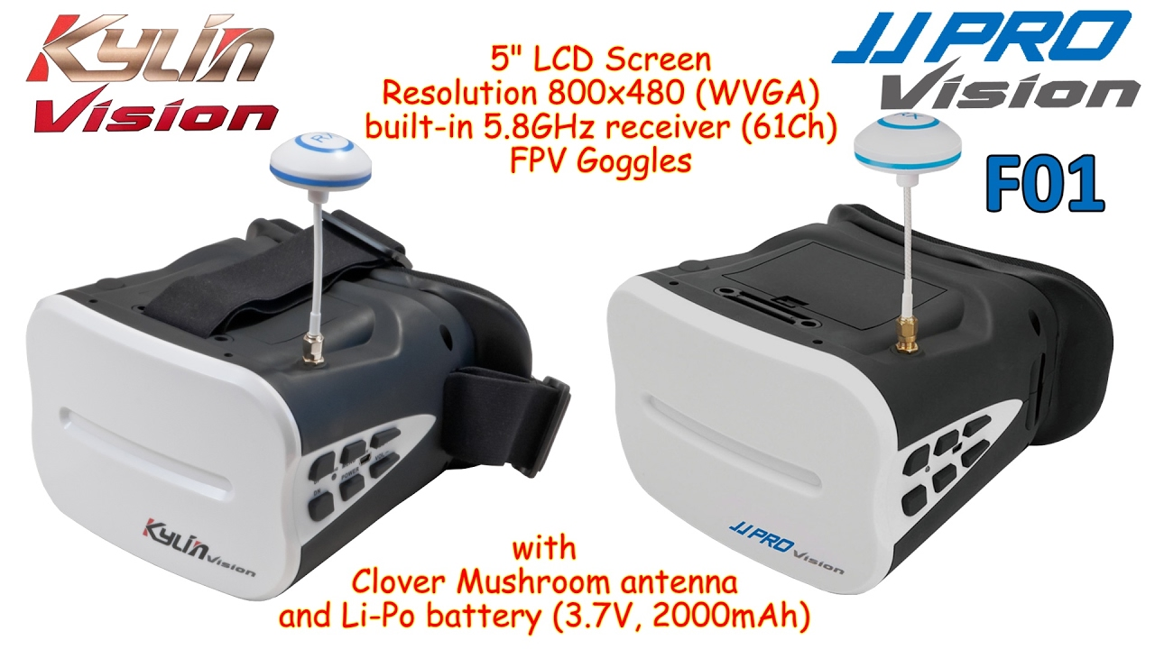 "KDS Kylin Vision / JJRC JJPRO F01 5"" FPV Goggles with built-in receiver  (61Ch), 5.8GHz - YouTube"