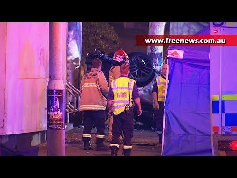 Car explodes in flames after crash in Darling Harbour, Sydney
