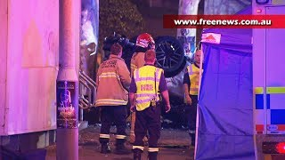car explodes in flames after crash in darling harbour sydney