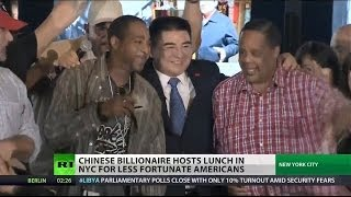 Chinese billionaire hosts NYC lunch for homeless