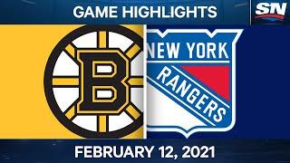 NHL Game Highlights   Bruins vs. Rangers - Feb. 12, 2021