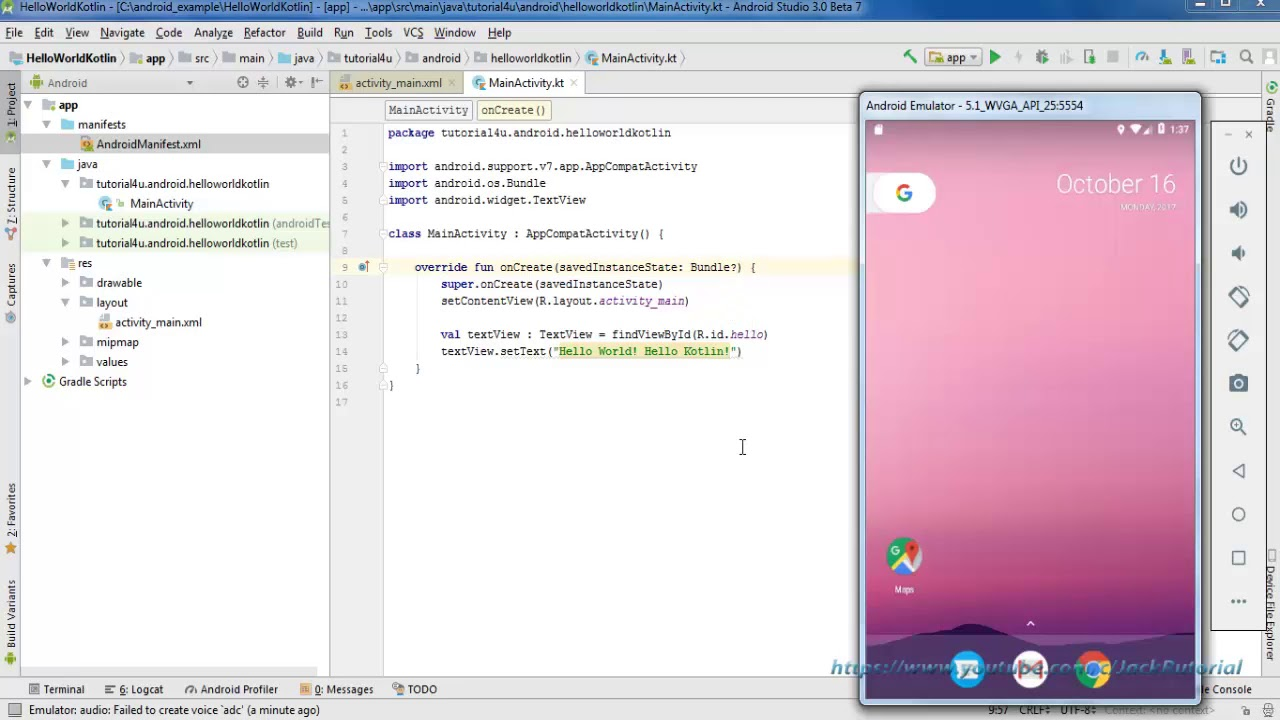 Create Hello World in Kotlin Android using Android Studio 3 - Android  Kotlin Tutorial for beginners