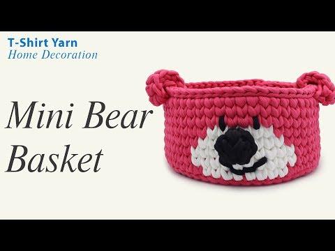 Crochet Mini Bear Basket With T-shirt Yarn