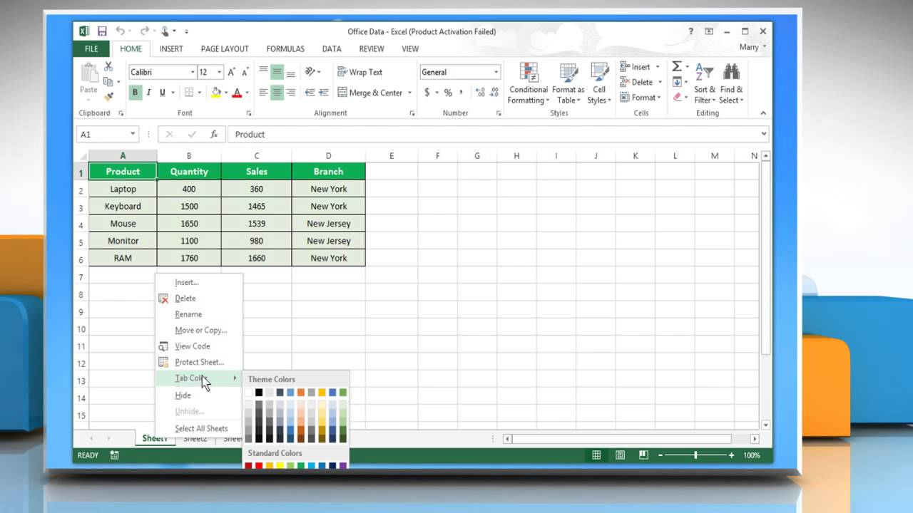 How To Change The Color Of Worksheet Tab In Microsoft