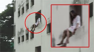 Ghost Jumping from a Haunted Building | Real Ghost Hanging | Scary Videos