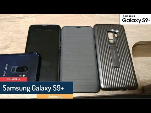 Coral Blue Samsung Galaxy S9+, S-View Flip Case, LED Cover, and Rugged Military case unboxing