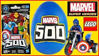 MARVEL 500 GIANT Play Doh Surprise Egg| Blind Bag Opening| Lego Toy Building| Superheroes