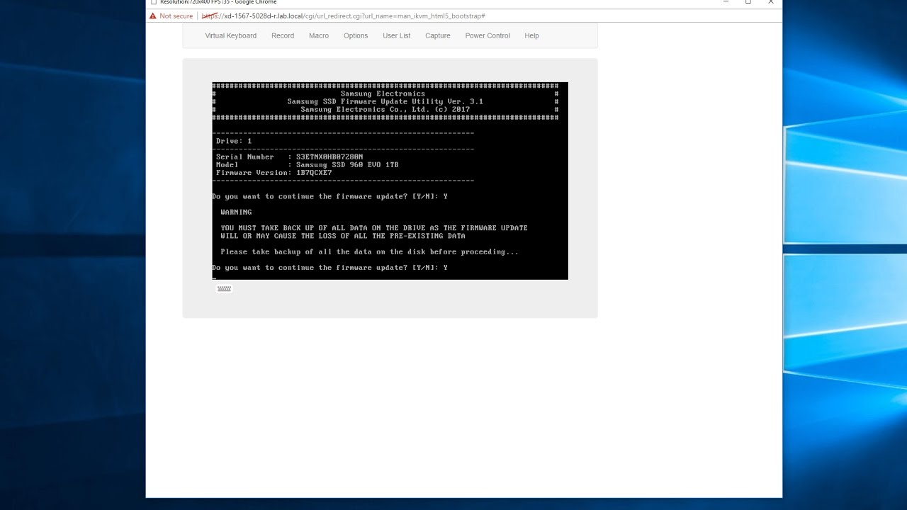 Update Samsung 960 EVO firmware with ISO for bootable USB drive over iKVM,  followed by speed tests