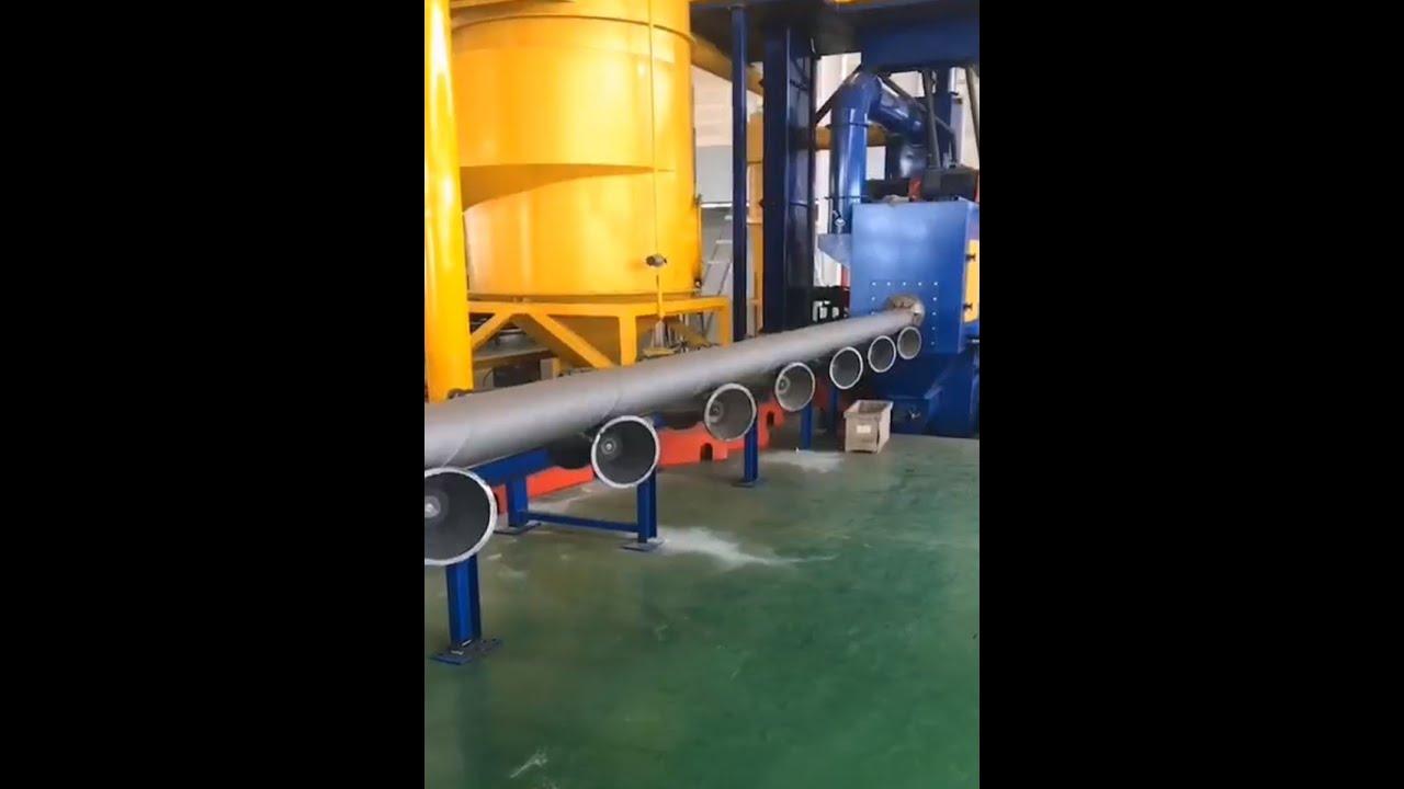 V roller shaped pipe blasting machine video 1