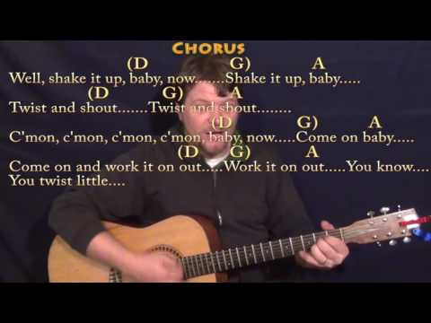 Twist and Shout The Beatles Strum Guitar Lesson Chord Chart with ChordsLyrics   D G A