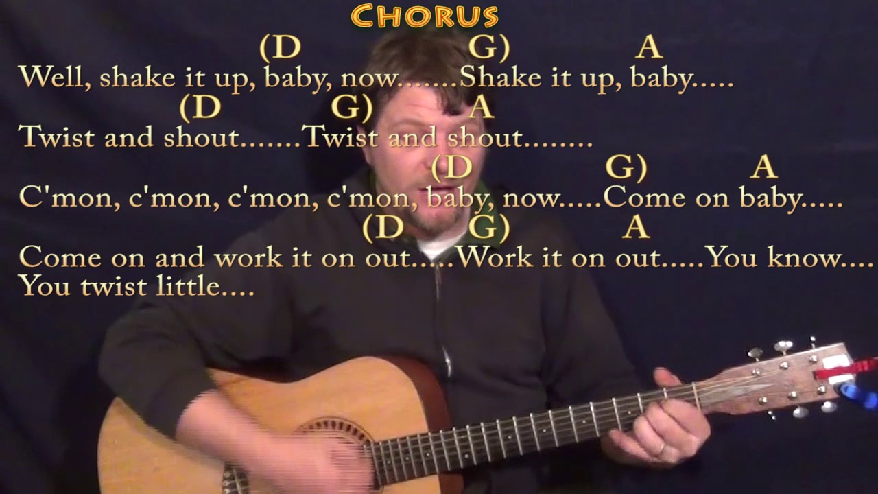 Twist And Shout The Beatles Strum Guitar Lesson Chord Chart With