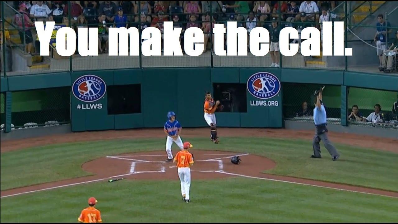 Odd rule call for LLWS 2016 - dead ball...how many bases umpire? - YouTube