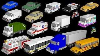 3D Street Vehicles - Cars and Trucks - The Kids' Picture Show (Fun & Educational Learning Video) thumbnail