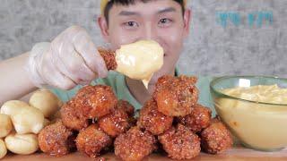 BBQ 시크릿 양념닭다리+나쵸치즈소스+크림치즈볼~!!M…