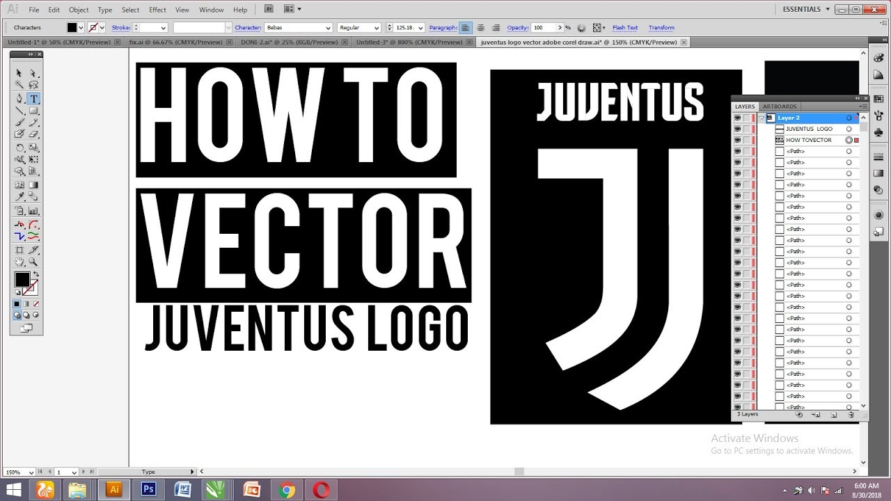 How To Vectorize Juventus Logo Download File Vector Youtube