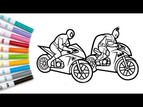 Batman Spiderman Motorcycle Coloring Pages Superheroes