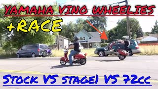 Yamaha vino race and wheelies