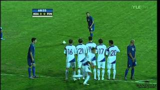Moldova Finland 2-0 - UEFA Euro 2012 Qualifiers, 3/9/2010 (All Goals & Hyypiä Red Card)