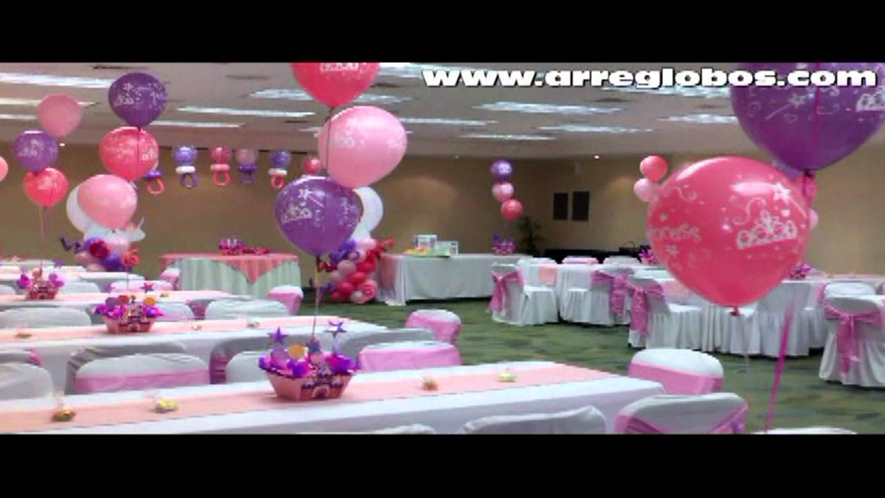 Decoracion con globos baby shower princess youtube for Decoracion casa shower