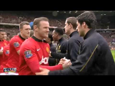 Luis Suarez & Petrice Evra Handshake Manchester United vs Liverpool 16 03 2014 HD
