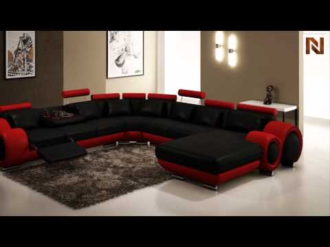 Modern Black And Red Leather Sectional Sofa VGEV4084 4 From VIG Furniture