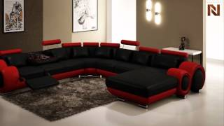 Modern Black And Red Leather Sectional Sofa  Vgev4084-4 From Vig Furniture