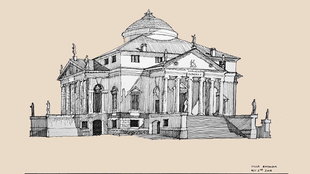 Architecture Sketch 001 Villa Rotonda By Andrea Palladio Youtube