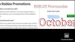 ROBLOX Oktober Promocodes!