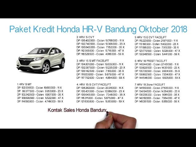 Kredit Honda HRV Bandung DP & Cicilan Oktober 2018 | Info: 082221011136