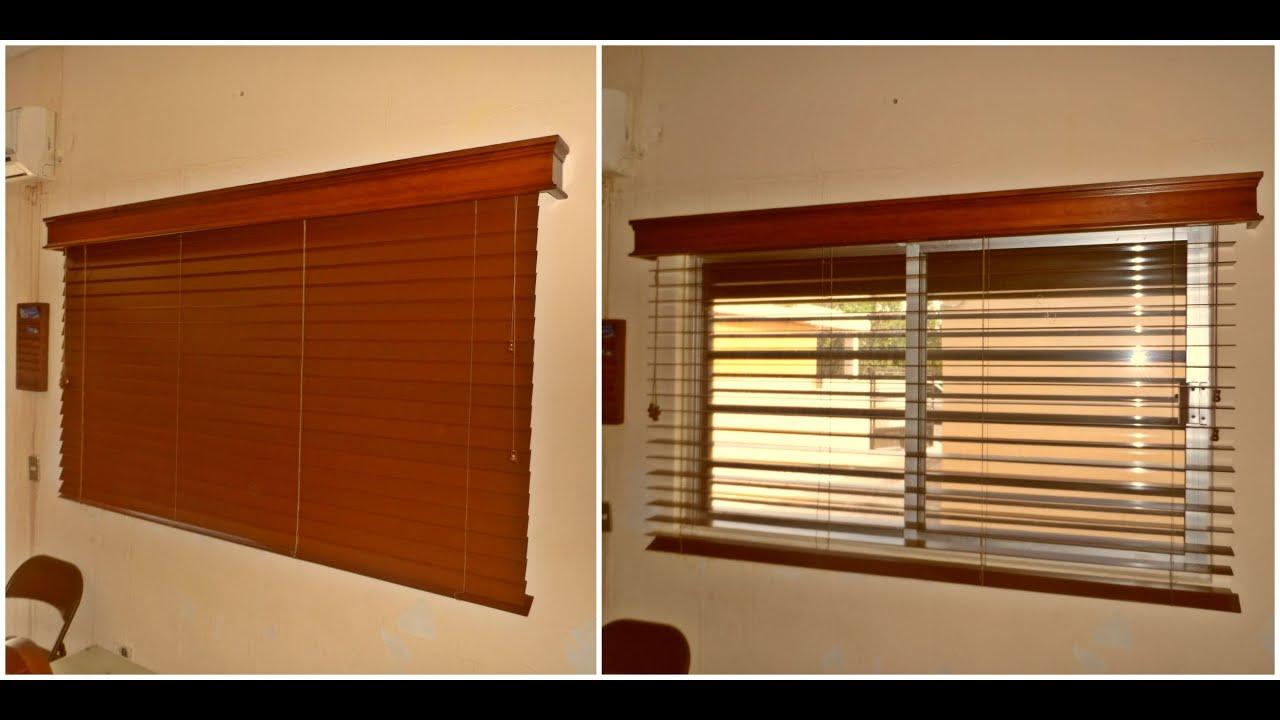 Persiana horizontal de madera tipo shutter con cornisa for Ventanas con persianas incorporadas