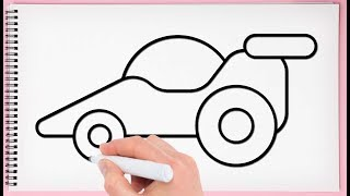 How to Draw a Car Step by Step for Kids Learn Drawing Race Car Very Easy and Simple
