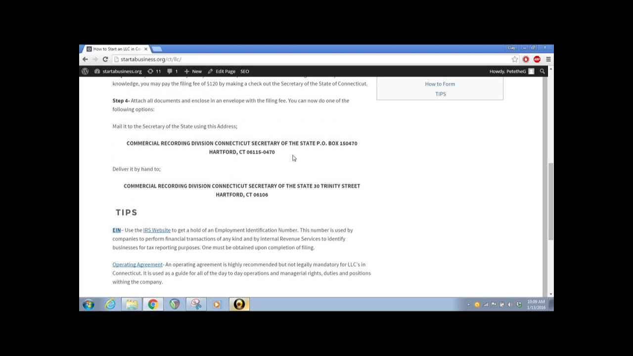 How To Start An Llc In Connecticut Ct Secretary Of The State Youtube