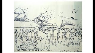How to draw a village market step by step for students.