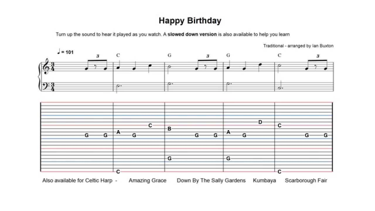 Learn How To Play Happy Birthday On Celtic Or Folk Harp With Chords
