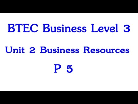 BTEC Business Level 3 Year 1 Unit 2 Business Resources P5