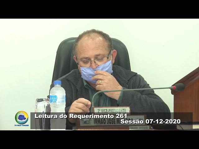 Vereador Irmão José Miranda PSL Leitura do Requerimento 261 Sessão 07 12 2020