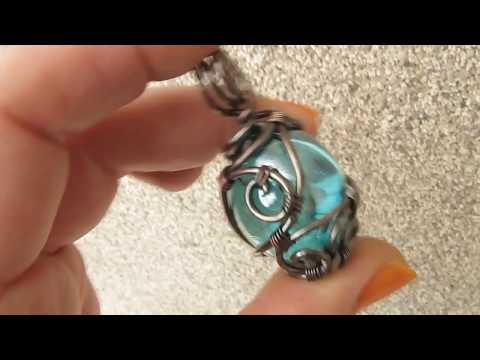 Copper Wire Wrapped Glass Pendant by DeeArtist, 2017