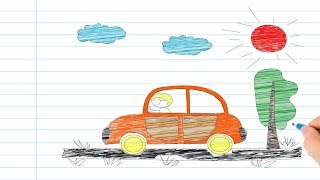 Vẽ tranh em tập lái oto và tô màu cho bé   day be ve