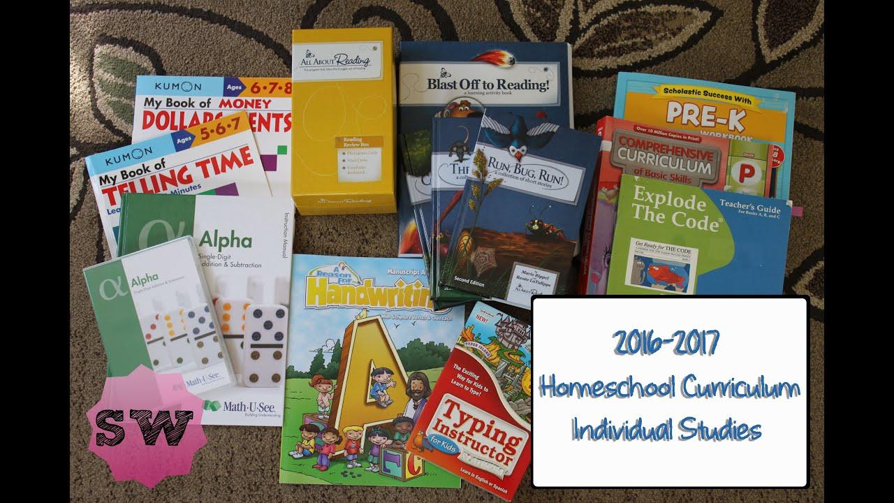 2016-2017 Curriculum: Part 2 - Individual Studies (1st Grade, Pre-K,  Preschool)