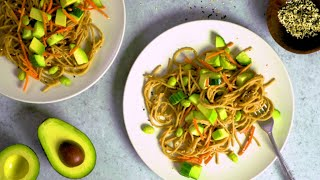 Chilled Peanut Noodle Salad with Avocado, Cucumber, and Sesame Seeds
