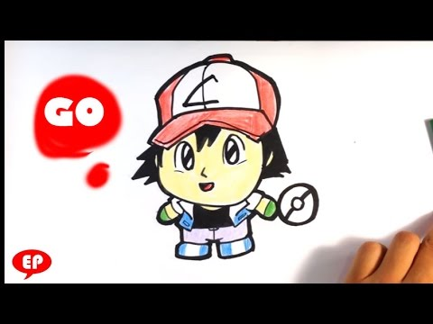 How to Draw Ash from Pokemon Go - Chibi - Easy Pictures to Draw