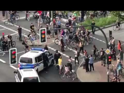 German police getting angry at protestor