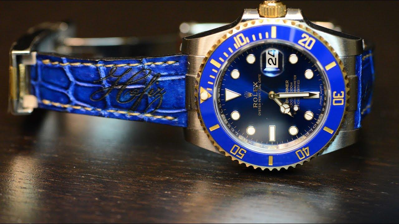 Rolex Submariner Bluesy 116613LB , on custom leather Strap