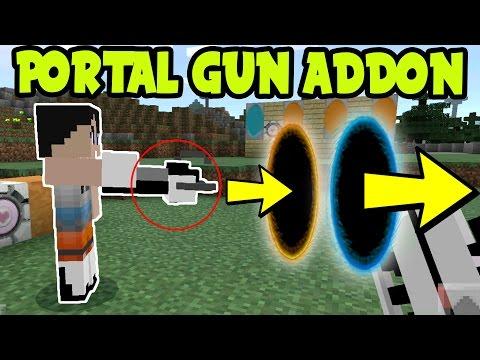 Minecraft Pocket Edition PORTAL GUN! MCPE Portal Addon and Behavior Pack! Minecraft Pocket Edition