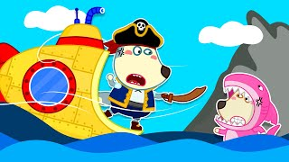 Wolf Family🌞captain Wolfoo Uses A Submarine To Fight Lucy Sharks | Pretend To Play With Toys