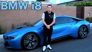 racing in the bmw i8 super car