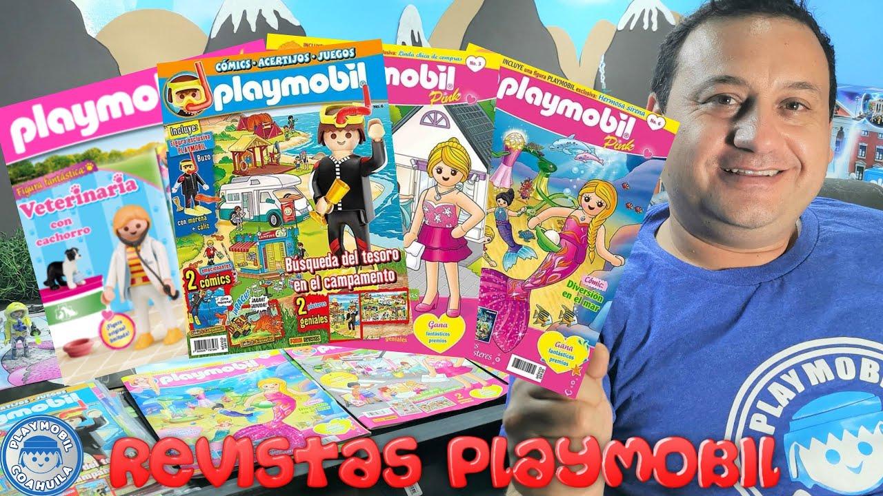 Revistas de playmobil buzo, chica de compras, veterinaria y sirena