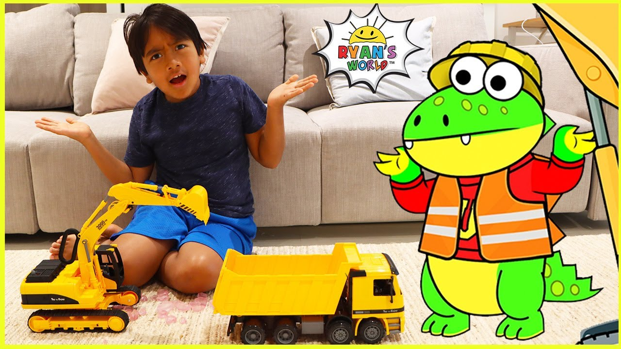 Ryan learns about Construction Vehicles for kids!