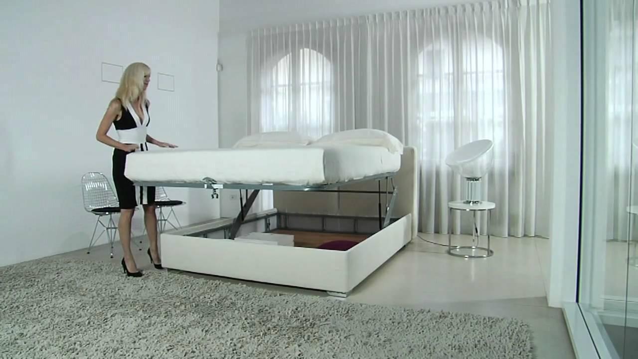 Letto Contenitore Matrimoniale Pistoni.Letto Contenitore Athena Storage Bed Youtube